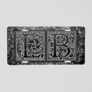 LB initials. Vintage, Flora Aluminum License Plate