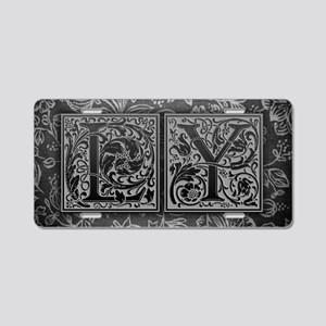 LY initials. Vintage, Flora Aluminum License Plate