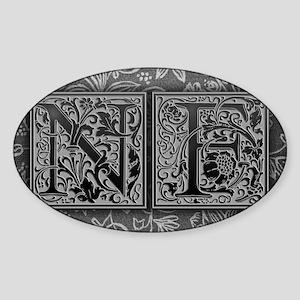 NF initials. Vintage, Floral Sticker (Oval)