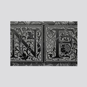 NF initials. Vintage, Floral Rectangle Magnet