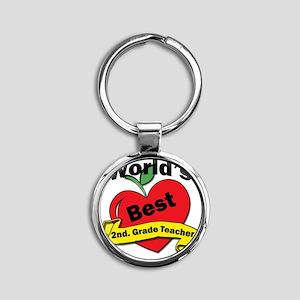 Worlds Best 2nd. Grade Teacher Round Keychain