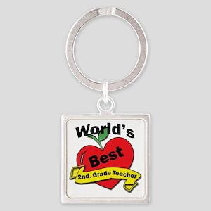 Worlds Best 2nd. Grade Teacher Square Keychain