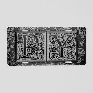 PY initials. Vintage, Flora Aluminum License Plate