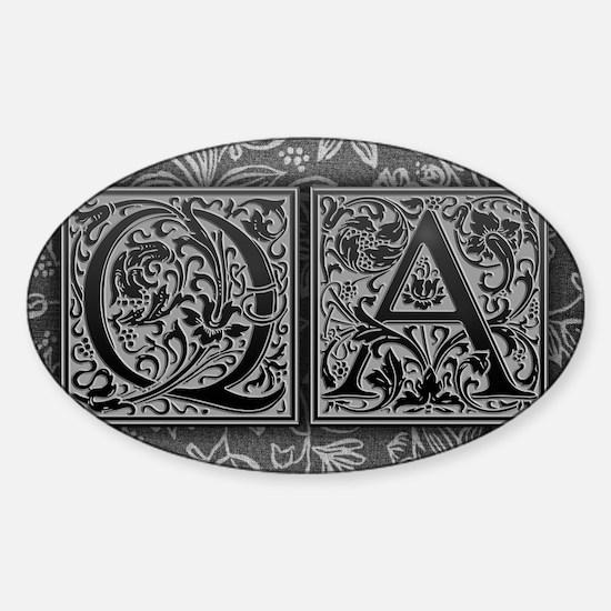 QA initials. Vintage, Floral Sticker (Oval)