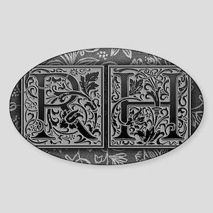 RH initials. Vintage, Floral Sticker (Oval)