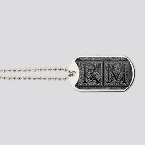 RM initials. Vintage, Floral Dog Tags