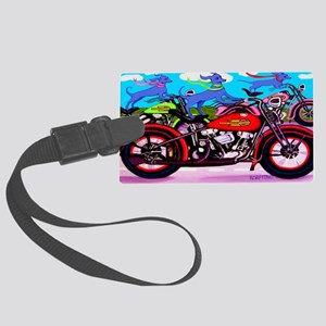 Blue Dogs on Motorcycles Shoulde Large Luggage Tag