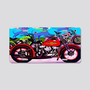 Blue Dogs on Motorcycles Sh Aluminum License Plate