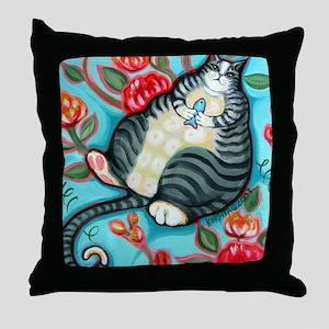 Tabby Cat on a Cushion Messenger Bag Throw Pillow