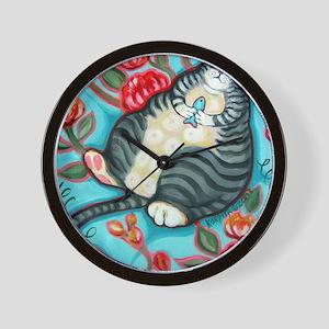 Tabby Cat on a Cushion Messenger Bag Wall Clock