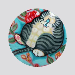 Tabby Cat on a Cushion Messenger Ba Round Ornament