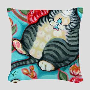 Tabby Cat on a Cushion Messeng Woven Throw Pillow