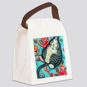 Tabby Cat on a Cushion Messenger  Canvas Lunch Bag