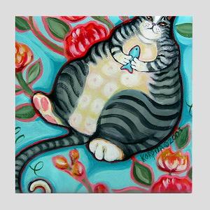 Tabby Cat on a Cushion Messenger Bag Tile Coaster