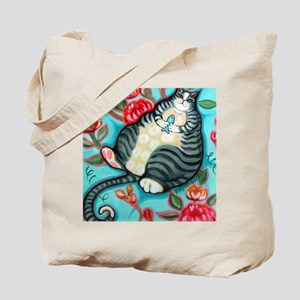 Tabby Cat on a Cushion Messenger Bag Tote Bag