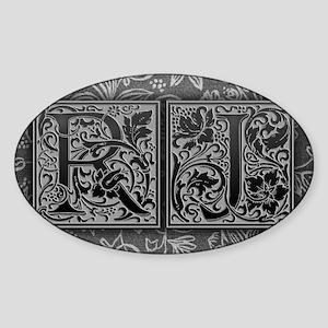 RJ initials. Vintage, Floral Sticker (Oval)