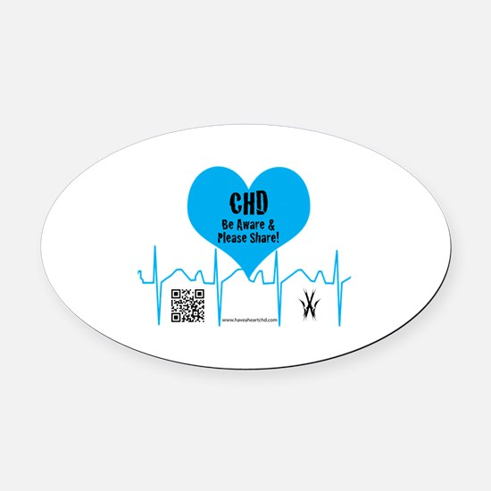 CHD Heartbeat Oval Car Magnet
