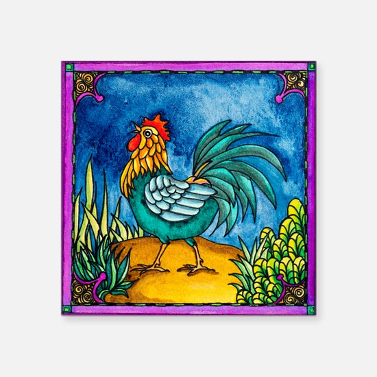 """Rooster 2 Square Sticker 3"""" x 3"""""""