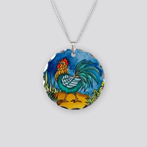 Rooster 2 Necklace Circle Charm