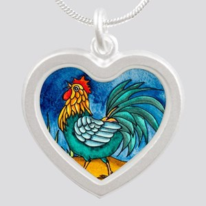 Rooster 2 Silver Heart Necklace