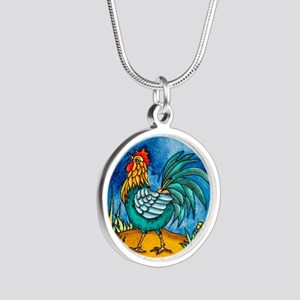 Rooster 2 Silver Round Necklace