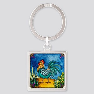Rooster 2 Square Keychain