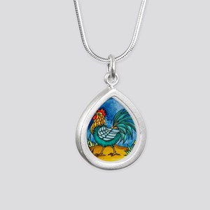 Rooster 2 Silver Teardrop Necklace