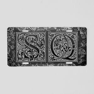 SQ initials. Vintage, Flora Aluminum License Plate