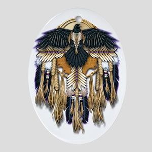 Native Crow Mandala Oval Ornament