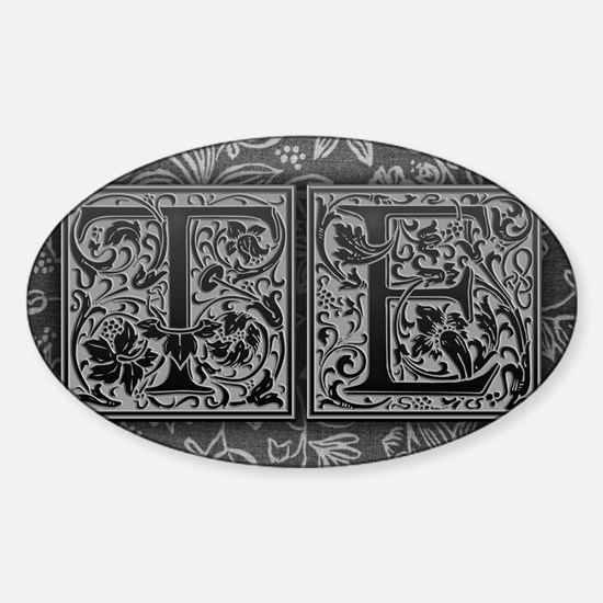 TE initials. Vintage, Floral Sticker (Oval)