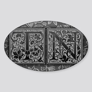 TN initials. Vintage, Floral Sticker (Oval)