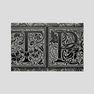 TP initials. Vintage, Floral Rectangle Magnet