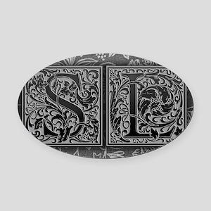 SL initials. Vintage, Floral Oval Car Magnet
