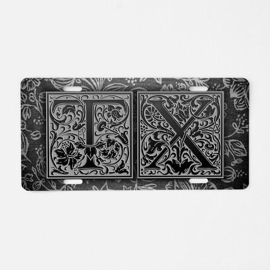 TX initials. Vintage, Flora Aluminum License Plate