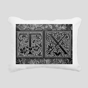 TX initials. Vintage, Fl Rectangular Canvas Pillow