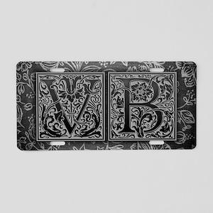 VB initials. Vintage, Flora Aluminum License Plate