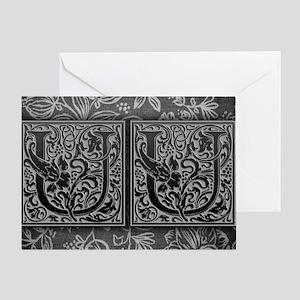 UU initials. Vintage, Floral Greeting Card