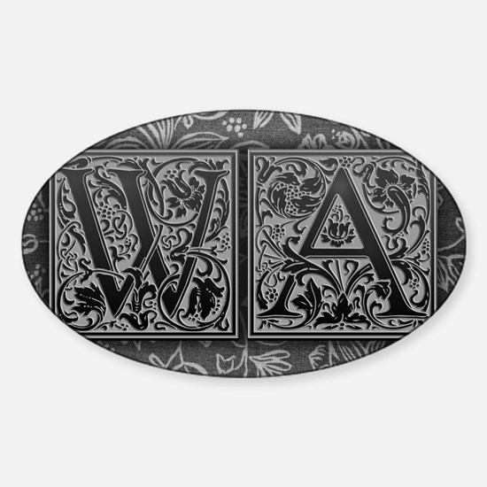 WA initials. Vintage, Floral Sticker (Oval)