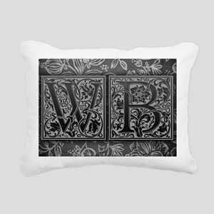 WB initials. Vintage, Fl Rectangular Canvas Pillow