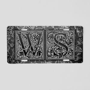 WS initials. Vintage, Flora Aluminum License Plate