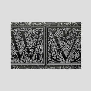 WV initials. Vintage, Floral Rectangle Magnet