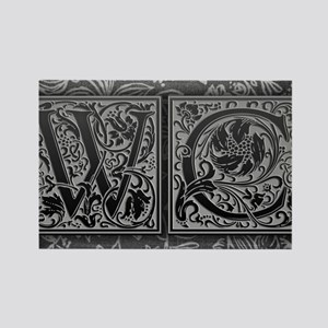 WC initials. Vintage, Floral Rectangle Magnet