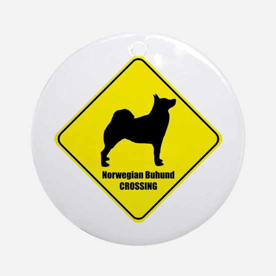 Buhund Crossing Ornament (Round)
