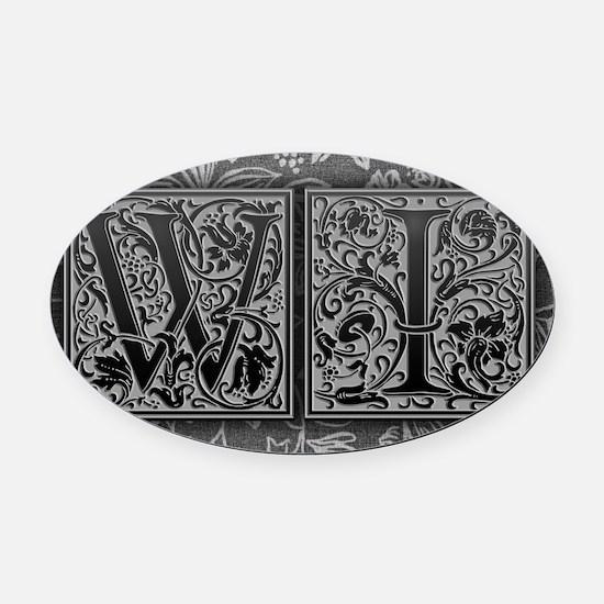 WI initials. Vintage, Floral Oval Car Magnet