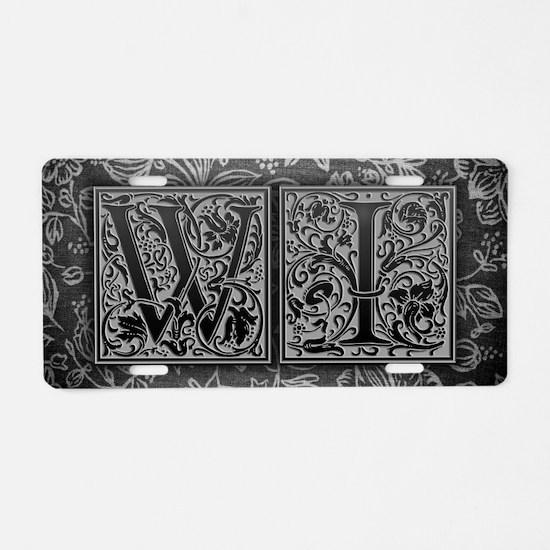 WI initials. Vintage, Flora Aluminum License Plate