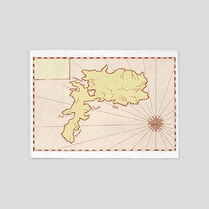 Vintage Map of Island 5'x7'Area Rug