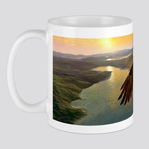 Bald eagle in flight, artwork Mug
