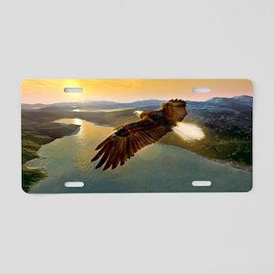 Bald eagle in flight, artwo Aluminum License Plate