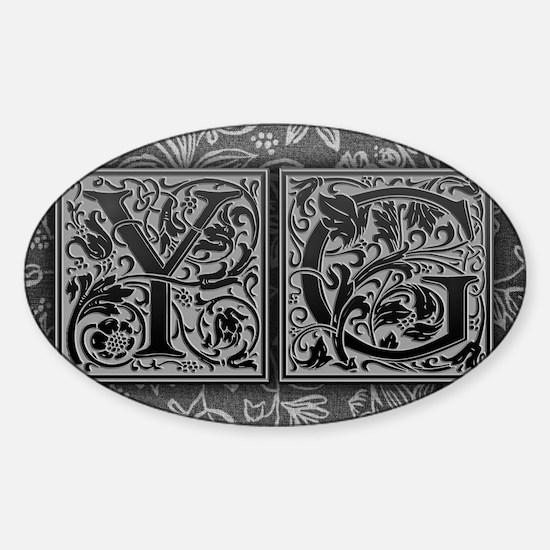 YG initials. Vintage, Floral Sticker (Oval)