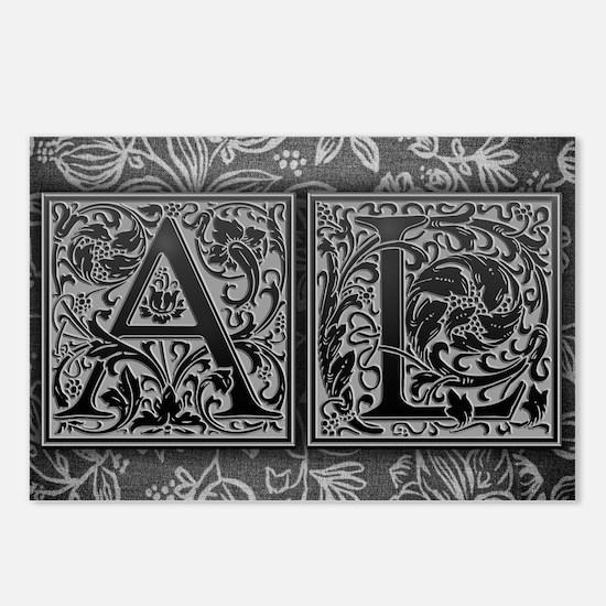 AL initials. Vintage, Flo Postcards (Package of 8)